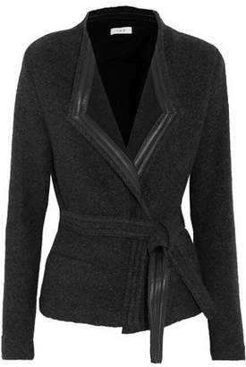 IRO Awa Belted Leather-Trimmed Wool-Blend Jacket
