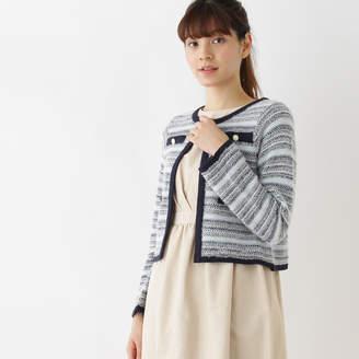Couture Brooch (クチュール ブローチ) - クチュール ブローチ Couture brooch ツイード調ニットカーディガン (ブルー系)