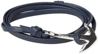 Miansai Silver Anchor Leather Bracelet