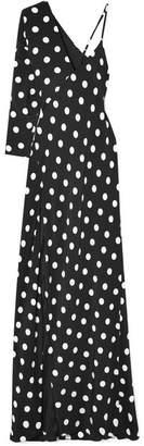 Michelle Mason - One-shoulder Polka-dot Silk Crepe De Chine Gown - Black