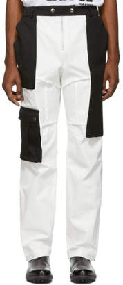 S.P. Badu Black and White Twill Cargo Pants