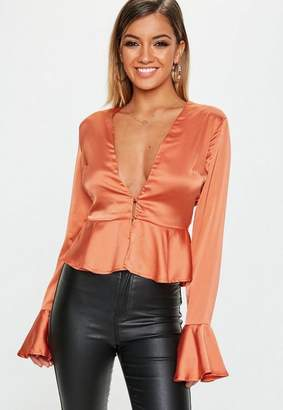 Missguided Rust Flute Sleeve Button Front Blouse