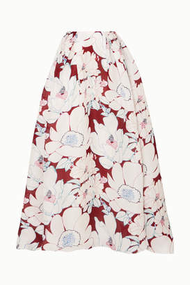 Carolina Herrera Floral-print Silk-organza Maxi Skirt - Burgundy