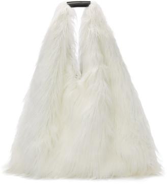 MM6 MAISON MARGIELA Reversible White Faux-Fur Shopping Tote
