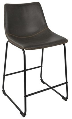 """Lumisource Duke 26"""" Industrial Counter Stool in Black with Grey Faux Leather and Orange Stitching by Set of 2"""