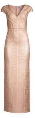 Herve Leger Cap Sleeve V-Neck Foil Gown