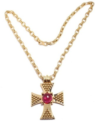 18K Yellow Gold with Pink Tourmaline Cross Pendant Necklace