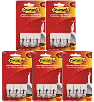 3M Command Wire Hooks, Small, White, 3-Hooks (17067ES) (Pack of 5)
