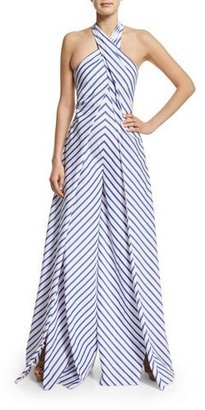Ralph Lauren Collection Sleeveless Crisscross Striped Jumpsuit, White/Blue $2,790 thestylecure.com