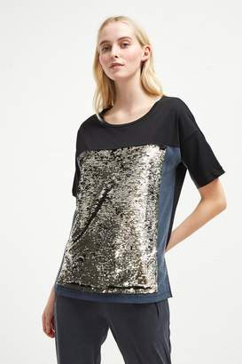 French Connenction Emilia Sequin Jersey Oversized T-Shirt