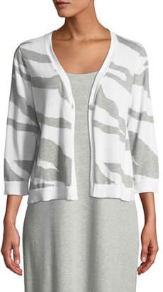 Joan Vass Single-Button 3/4-Sleeve Zebra-Patterned Cardigan, Plus Size