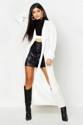 boohoo Maxi Belted Knitted Cardigan