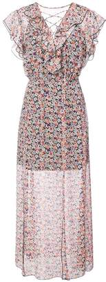 Anna Sui scattered flowers crinkled chiffon dress