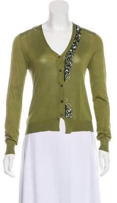 Dries Van Noten Silk-Blend Cardigan Olive Silk-Blend Cardigan