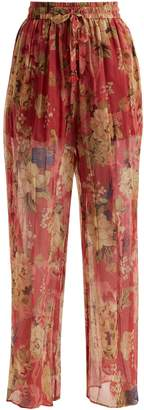Zimmermann Melody floral-print silk trousers