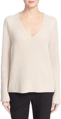 Helmut Lang V-Neck Wool & Cashmere Pullover $395 thestylecure.com