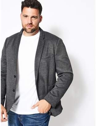 Burton - Big & Tall Black Pique Jersey Blazer