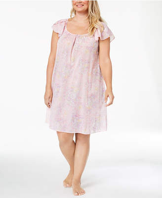 Miss Elaine Plus Size Printed Short Nightgown