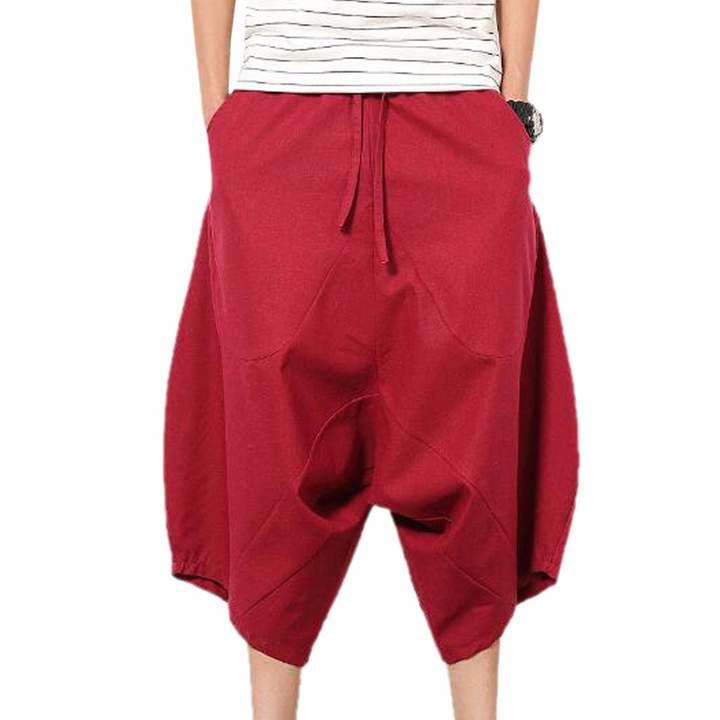 QIYUN.Z Men's Retro Harem Pants Hip-Hop Capri Shorts