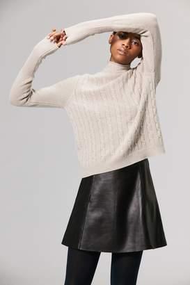 Veda Circle Leather Mini Skirt Black