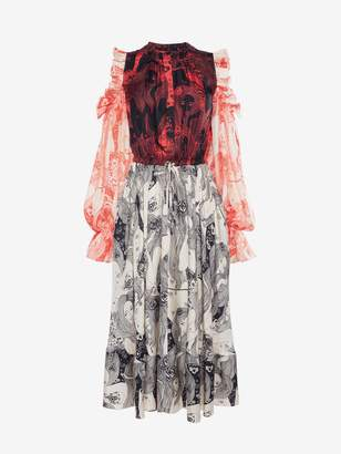 Alexander McQueen Eve Print Midi Dress