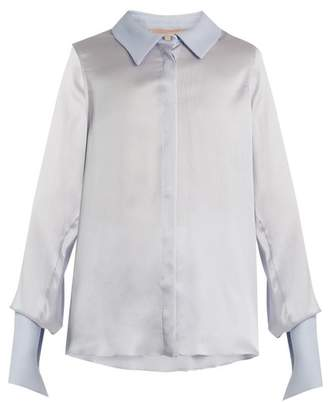Roksanda Kanika Contrast Collar Silk Blend Blouse - Womens - Light Blue