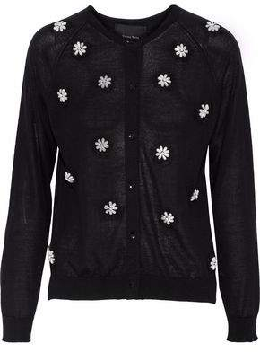 Simone Rocha Embellished Merino Wool Silk And Cashmere-Blend Cardigan