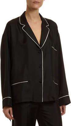 Valentino Twill Pajama Blouse w/ Contrast Piping
