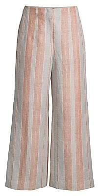 Lafayette 148 New York Women's Downing Striped Linen Cropped Wide-Leg Pants