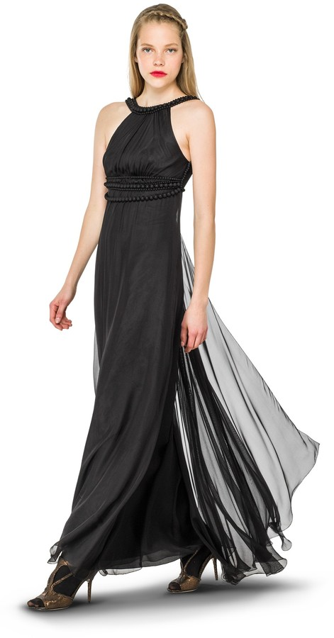 Silk Mesh Hand Covered Bead Chiffon Gown