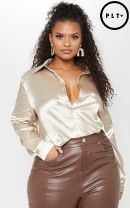 PrettyLittleThing Plus Champagne Satin Button Front Shirt