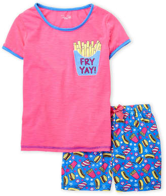 Rene Rofe Girls 7-16) Two-Piece Fry Yay Tee & Shorts Pajama Set