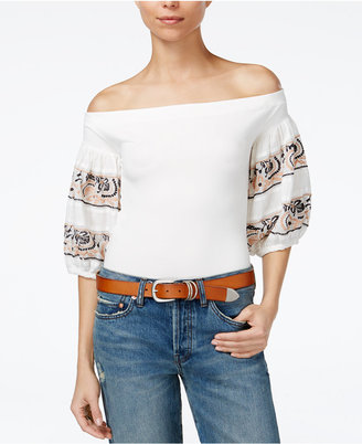 Free People Rock With It Off-The-Shoulder Top $88 thestylecure.com