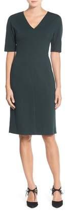 Eliza J V-Neck Crepe Sheath Dress