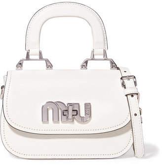 Miu Miu Madras Mini Textured-leather Shoulder Bag - White