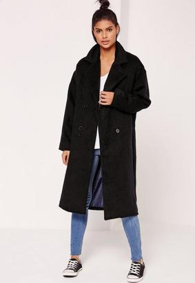 Tall Navy Blue Cocoon Faux Wool Coat $121 thestylecure.com
