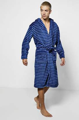 boohoo Navy Stripe Print Hooded Robe