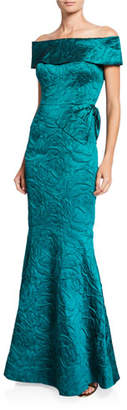 Rickie Freeman For Teri Jon Off-the-Shoulder Jacquard Trumpet Gown