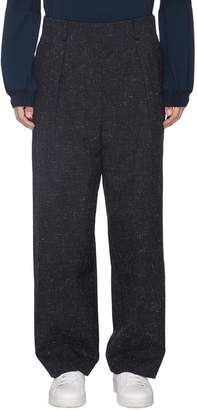 ETHOSENS Pleated straight leg wool canvas pants