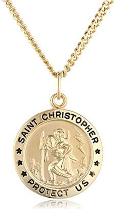14k -Filled Medium Round Saint Christopher Pendant Necklace with Stainless Steel Chain