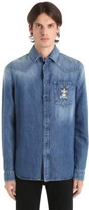 Etro Frog Embroidered Cotton Denim Shirt