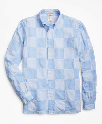 Brooks Brothers Chambray Patchwork Madras Sport Shirt