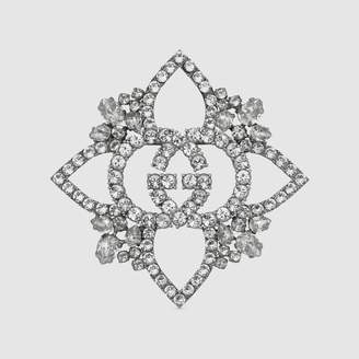 Gucci Crystal Interlocking G flower brooch