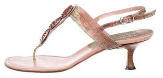 Manolo Blahnik Embossed Thong Sandals