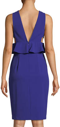 Aidan Mattox Scuba Crepe Peplum Cocktail Dress w/ Side Cutouts