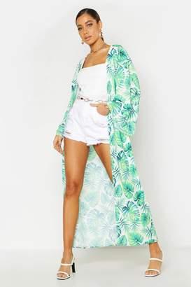 boohoo Tropical Palm Print Maxi Kimono