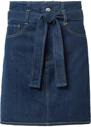 3x1 Kelly Belted Denim Mini Skirt - Dark denim