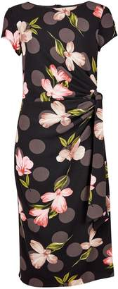 Dorothy Perkins Womens **Lily & Franc Black Bloom Print Belted Bodycon Dress
