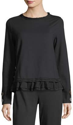 Neon Buddha Cape Side Ruffled-Hem Pullover, Plus Size $125 thestylecure.com