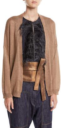 Brunello Cucinelli Linen-Silk Open-Front Paillette Cardigan with Belt